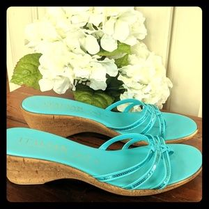 Made in Italy -Tiffany Blue sequin strappy sandals